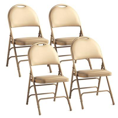 Samsonite® Padded Fanback Leather Memory Foam Folding Chairs In Beige (Set  Of 4)