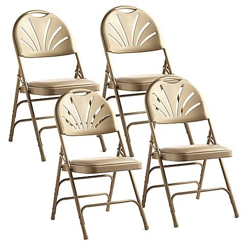 samsonite 174 fanback leather memory foam folding chairs set