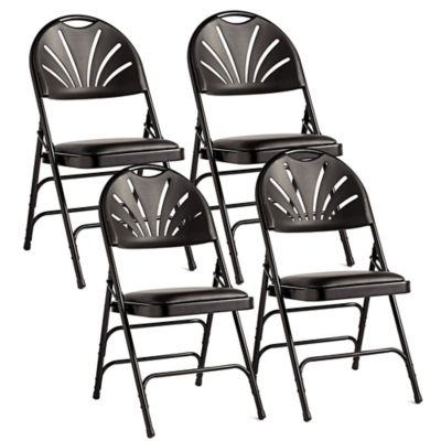Attirant Samsonite® Fanback Leather Memory Foam Folding Chairs In Black (Set Of 4)