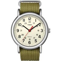 Timex® Weekender Unisex 38mm Watch in Silvertone Brass with Olive Nylon Strap