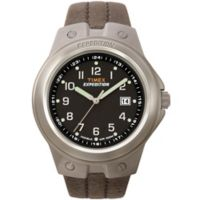 Timex® Expedition® Men's 40mm Tech Watch in Brushed Brass w/Brown Leather Strap