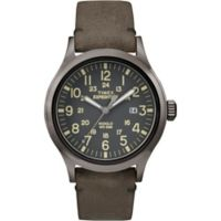 Timex® Expedition Men's 40mm Scout Watch in Greytone Brass w/Brown Leather Strap