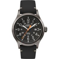 Timex® Expedition® Men's 40mm Scout Watch in Greytone Brass w/Black Leather Strap