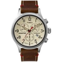 Timex® Expedition® Men's 42mm Scout™ Chronograph Watch in Silvertone w/Leather Strap