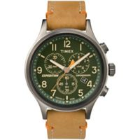 Timex® Expedition® Scout™ Men's Chronograph Green Dial Watch with Tan Leather Strap