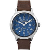 Timex® Expedition Men's 43mm Scout Blue Dial Watch in Stainless Steel w/Brown Leather Strap