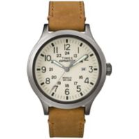 Timex® Expedition Men's 43mm Scout Beige Dial Watch in Stainless Steel w/Brown Leather Strap
