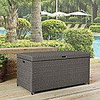 Crosley Palm Harbor Outdoor Wicker Storage Bin in Grey