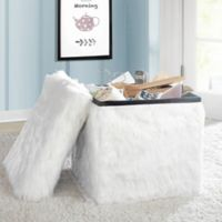 Mongolian Fur Collapsible Storage Cube in White