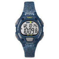 Timex® Ironman® Ladies' 34mm Classic 30 Mid-Size Watch with Blue/Grey Resin Strap