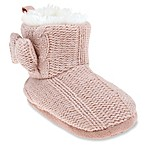 Capelli New York Size 0-6 Months Metallic Knit Slipper Boot in Dusty Pink