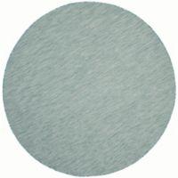 Safavieh Courtyard Chevron 6-Foot 7-Inch Round Indoor/Outdoor Area Rug in Aqua/Grey