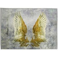 Oliver Gal Home My Golden Wings 5-Foot x 8-Foot Area Rug in Silver/Gold