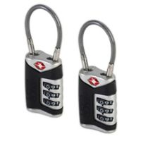 Lewis N. Clark® Travel Sentry® Indicator 3-Dial Combination Cable Lock in Black (Set of 2)