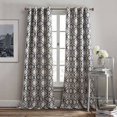 Rutherford 95 Inch Grommet Top Window Curtain Panel In Navy