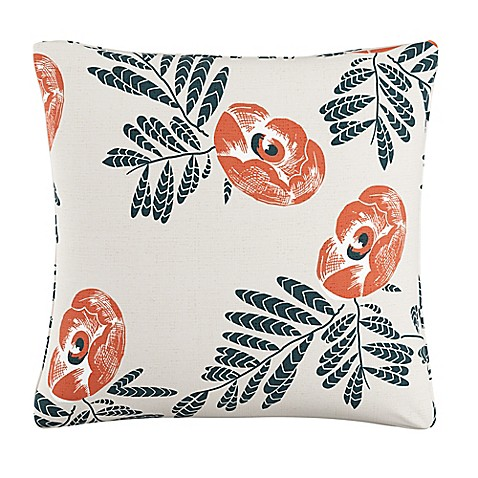 Bed Bath And Beyond Orange Throw Pillows : Skyline Floral Square Throw Pillow in Orange - Bed Bath & Beyond