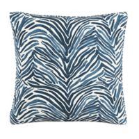 Skyline Zebra Square Throw Pillow in Blue