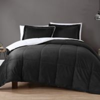 VCNY Home Micro Mink Sherpa 3-Piece Reversible King Comforter Set in Black