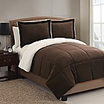 VCNY Home Micro Mink Sherpa 3-Piece Reversible Queen Comforter Set in Chocolate