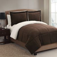 VCNY Home Micro Mink Sherpa 3-Piece Reversible King Comforter Set in Chocolate