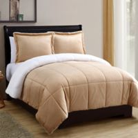 VCNY Home Micro Mink Sherpa 2-Piece Reversible Twin Comforter Set in Camel
