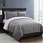 VCNY Home Micro Mink Sherpa 3-Piece Reversible Queen Comforter Set in Grey
