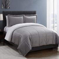 VCNY Home Micro Mink Sherpa 2-Piece Reversible Twin Comforter Set in Grey