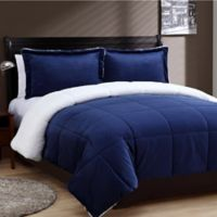 VCNY Home Micro Mink Sherpa 3-Piece Reversible Queen Comforter Set in Navy