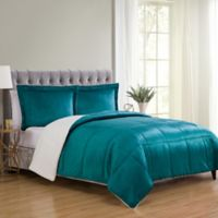 VCNY Home Micro Mink Sherpa 3-Piece Reversible King Comforter Set in Teal