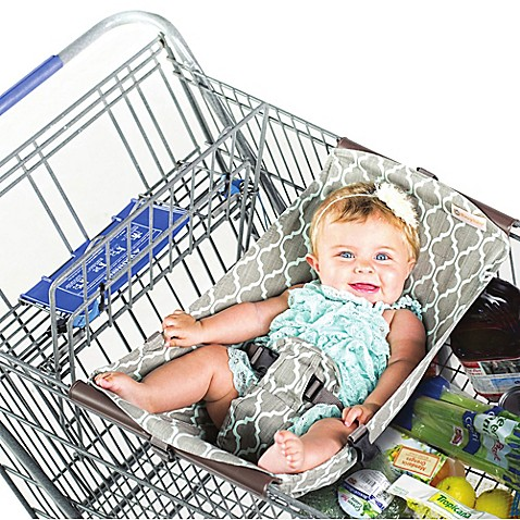 Binxy Baby 174 Shopping Cart Hammock In Grey Aqua Quatrefoil