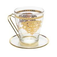 Classic Touch Glim Tea Cups with Plates with 14K Gold Design (Set of 6)