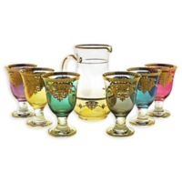 Classic Touch Glim Amber Pitcher with 6 Multicolored Glasses
