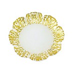 Classic Touch Trophy Milky Glass Flower-Shaped Dessert Plates with Scalloped Gold Design (Set of 4)