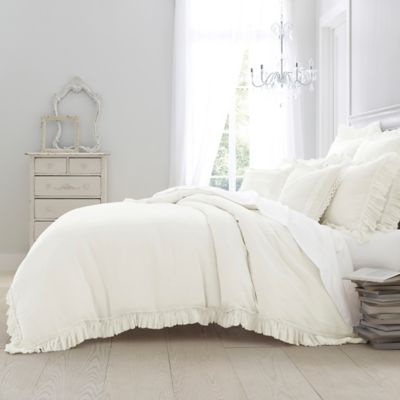 wamsutta vintage washed linen king duvet cover in winter white