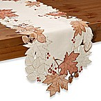 Sam Hedaya Burwell Leaf Cutwork 90-Inch Table Runner in Ivory