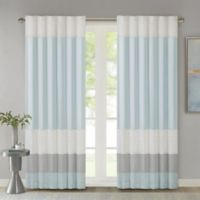Madison Park Amherst 84-Inch Rod Pocket/Back Tab Window Curtain Panel in Aqua