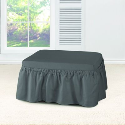 sure fit essential twill ottoman slipcover in smoke grey