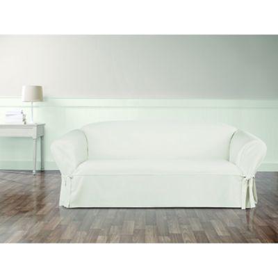 Sure Fit® Essential Twill Sofa Slipcover In White