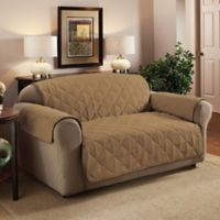 Faux Suede Loveseat Protector in Camel