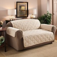 Faux Suede Loveseat Protector in Natural