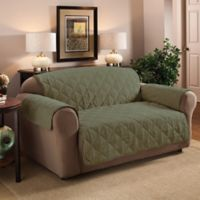 Faux Suede Loveseat Protector in Sage