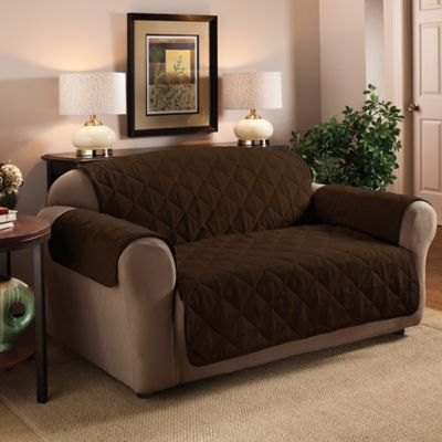 Charming Faux Suede Sofa Protector In Chocolate