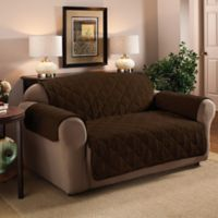 Faux Suede Sofa Protector in Chocolate