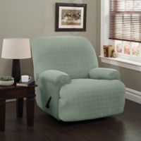 Basketweave Stretch Jumbo Recliner Slipcover in Spa