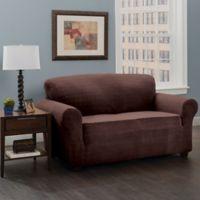 Basketweave Stretch Loveseat Slipcover in Chocolate