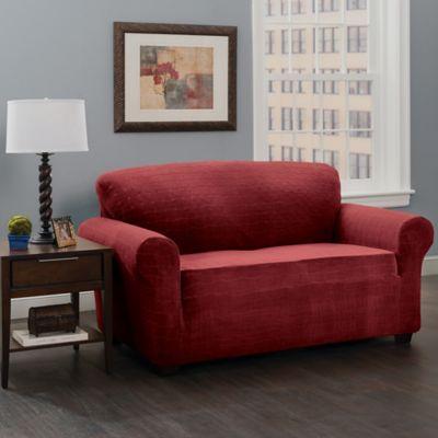 Basketweave Stretch Sofa Slipcover In Burgundy