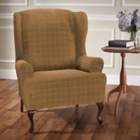 Basketweave Stretch Wingback Chair Slipcover in Antique
