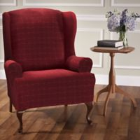 Basketweave Stretch Wingback Chair Slipcover in Burgundy