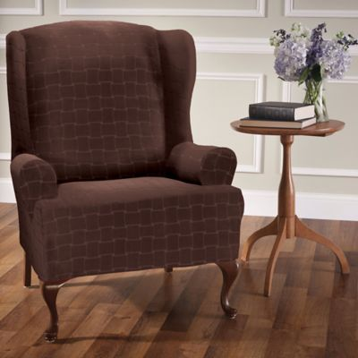 Basketweave Stretch Wingback Chair Slipcover In Chocolate