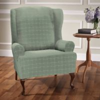 Basketweave Stretch Wingback Chair Slipcover in Spa